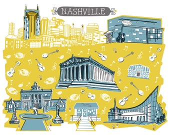 Wall Art-Nashville Tennessee-Art Print-3 Color-City Illustrations-10x8-You Choose Color-Custom City Print