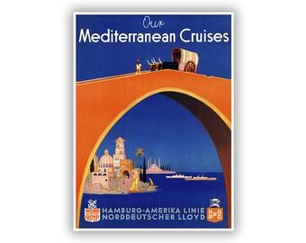 Mediterranean Travel Poster, Ocean Liner Travel Art, Tourism Artwork, Vintage Style Print, Retro Home Decor