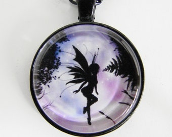 FLOATING FAIRY Necklace, A fairy floats in the air light as a feather, Shades of blue, white & purple, Friendship token for her