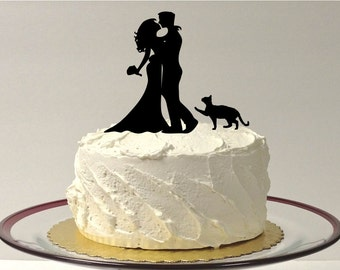 MADE In USA, Cat + Bride & Groom Silhouette Wedding Cake Topper With Pet Cat Family of 3 Hair Down Cake Topper Bride and Groom Cake Topper