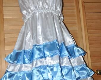 Christmas satin halterneck dress, very feminine with swinging skirt and blue satin frills,  Sissy Lingerie