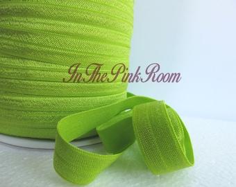 "Solid FOE ~ APPLE GREEN ~ 5/8"" Fold Over Elastic"