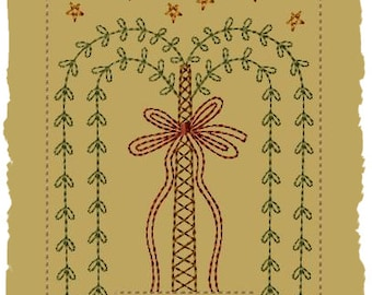 Primitive Machine Embroidery Design-Simple Blessings Willow--Version 2--(5x7)-INSTANT DOWNLOAD
