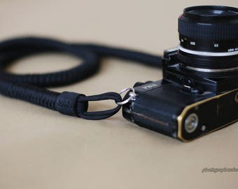 All black 16mm Hand knit Chinese knot handmade Camera neck strap