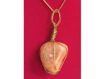 Orange Calcite Pendant, Handmade, Wire Wrapped Crystal (Gold Wire #1)