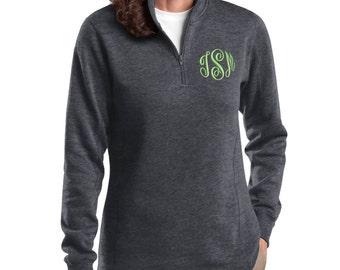 Monogrammed Sweatshirt Quarter Zip Monogram Pullover, Monogrammed Sweater, Gift for her