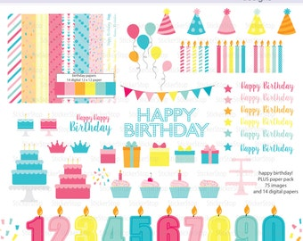 Happy Birthday Party Digital Clipart and Paper Pack Set - Instant download PNG files