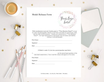 Photography Forms, EDITABLE Model Release and Underage Model Release, Photographer Resources, Photography Business Forms