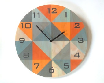 Objectify Grid Grey/Orange With Black Numerals Plywood Wall Clock - Large