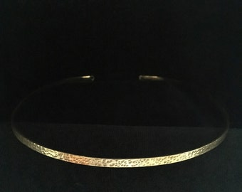 Simple Hammered Brass Band Circlet Headpiece