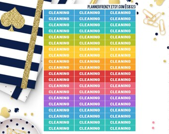 """60 """"Cleaning"""" Section Header Planner Stickers! SB323"""