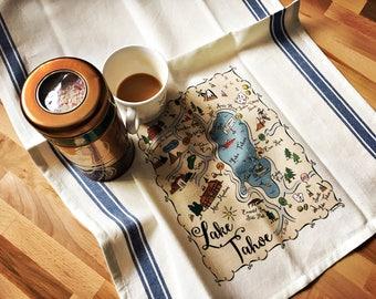 Lake Tahoe Map Kitchen/Tea Towel