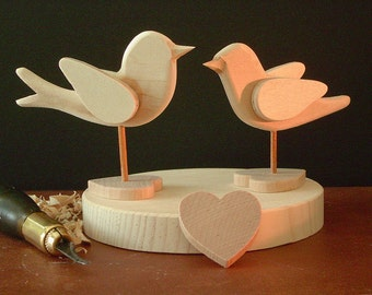 WEDDING CAKE  Topper - DIY - Bluebird and Chickadee each on Heart Base for Your Lover - Ready to finish Your Way -