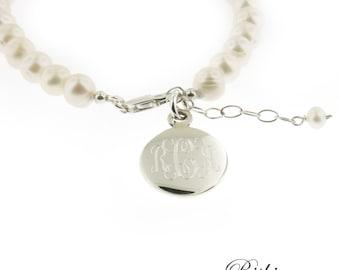 Monogrammed Engraved .925 Sterling Silver Charm & Freshwater Pearls Bracelet