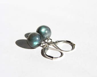 Flashy Labradorite Earrings Sterling Silver Argentium Earwire Smooth Round Iridescent Gray Lever Back Leverback Natural Stone Earring #17546