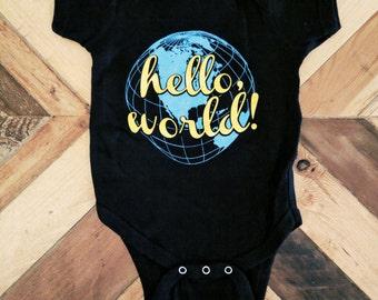 Hello World ) Onesie ) Black