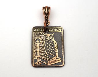 Owl pendant, small rectangular flat copper bookplate ex libris jewelry, etched metal, 25mm