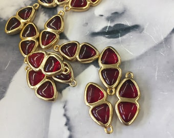Vintage 20x9 mm Ruby Glass Cabochon Channel Set Drops  7446RUB x2
