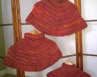 Pink, Orange, and Mustard  Ladies/Womens Poncho/ Cape/Wrap ~  Wool & Alpaca ~ Hand Knitted