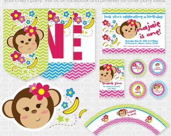 Monkey Party Theme Basic Package - Personalized Printable for girls