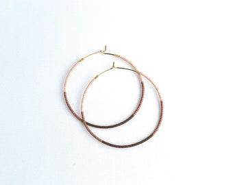 14k Gold Filled Beaded Wishbones - Seed Beads - Hoop Earrings - Gold Beaded Earrings - Pink And Maroon Seed Beads - Everyday Hoops