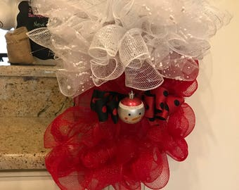 Little Red Christmas Stocking Deco Mesh Wreath