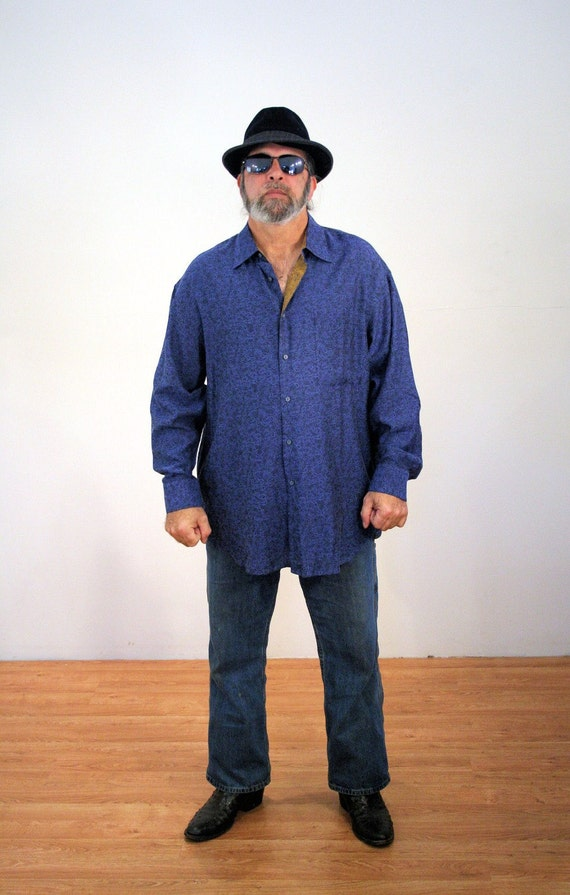90s Jhane Barnes Shirt 2XL, Blue Silk & Cotton Button Down Shirt, Men's Designer Shirt, Silk Blend Shirt, Men's Blue Shirt, XXL