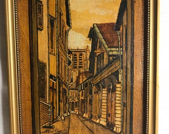 Woodcut + paint ALBERT Rascal 1938 Troyes + frame wood