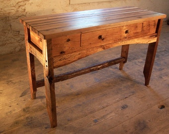 Butcher Block Kitchen Island from Reclaimed Hardwood and Rustic Pine Base