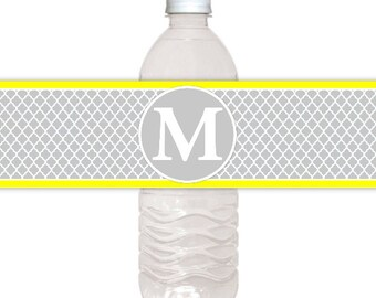 Quatra Foil and Monogram Water Bottle Labels, CUSTOM Printable Wedding Water Bottle Labels, you print, you cut, DIY water bottle labels