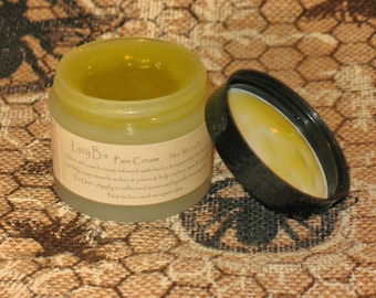 Pain Cream  - Olive oil based herbal infusion with menthol for aches, bruises & muscle spasms.    Net. Wt. 2 Oz.