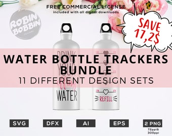 Water Bottle Trackers Bundle - SALE - Drink Your Effing Water Tracker svg dxf eps png Fitness, Working Out, Gym Designs, Water Bottle svg