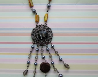 Long Necklace, Glass Beads,