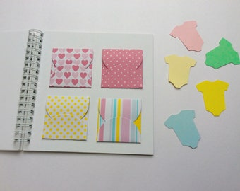 baby memory book, baby book, baby shower gift, mini baby scrapbook photo album, mini envelope book, gender reveal guest book guestbook