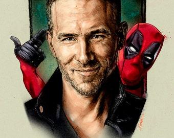 Portrait of Ryan Reynolds and Deadpool