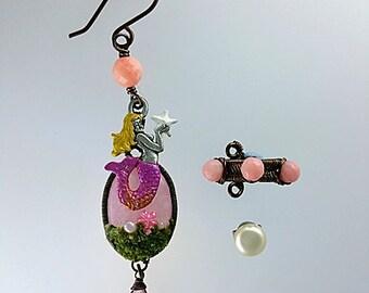 Pink Mermaid Earrings - Mermaid Ear Cuff - Mermaid Jewelry - Nautical Earrings - Nautical Ear Cuff Jewelry - Beach Earrings - Ocean Earrings