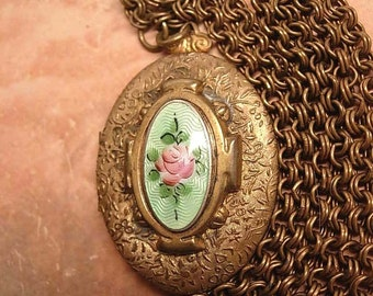 Antique deco Guilloche enamel Locket necklace JUST GORGEOUS
