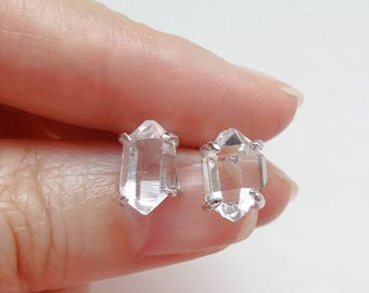 AAA Herkimer Diamond Double Terminated Point Clawed Stud Earrings Sterling Silver Posts One Pair G6310
