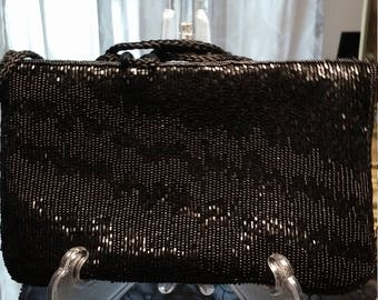 Beautiful Black Beaded Lord & Taylor Evening Bag