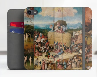 """iPhone 8 flip case Hieronymus Bosch """"The Hay Wain"""" Samsung Galaxy S7 flip case iPhone X flip Phone cover for iPhone, Samsung. WC-HBO-03"""