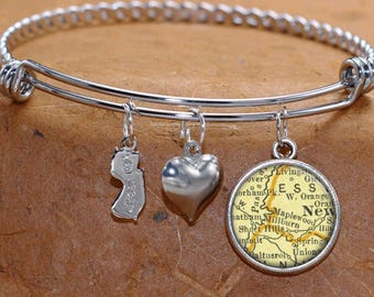 Maplewood New Jersey Map Charm Bracelet State of NJ Bangle Cuff Bracelet Vintage Map Jewelry Stainless Steel Bracelet