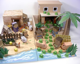 Bible MiniWorld Paper Toys - Moses and the Plagues of Egypt - Cut, assemble and play. Instant download