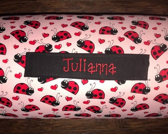 """Personalized Preschool / Kinder Nap Mat in Sweet Ladybug with Pillow, Minky Blanket and 1"""" memory foam"""