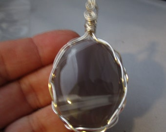 Gray and white striped Botswana Agate Cabochon Woven wire Pendant