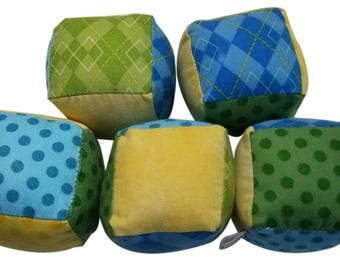 Soft Flannel Baby Blocks in Blue, Green and Yellow Polka Dots