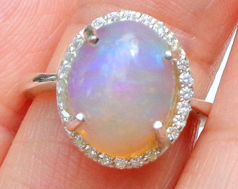 Sz 7.25,Welo Opal, Sparkling CZ Ring,Genuine Ethiopian Opal,Natural Gemstone,Green Yellow Peach Blue Teal & Purple Fire,Sterling Silver Ring