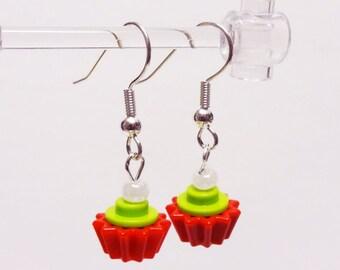 Mini Lite Green and Red Cupcake Dangle Earrings