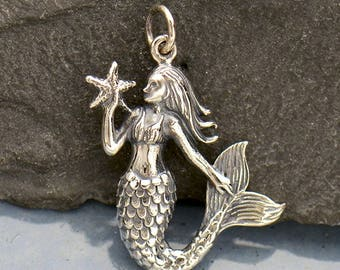 Mermaid Charm Sterling Silver Mermaid Pendant, Mermaid With Starfish Charm, Mermaid Jewelry, Beach Jewelry, Silver Mermaid 27.5x17.5mm