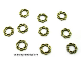 10 connectors, circles closed bronze spiral striped 15 mm