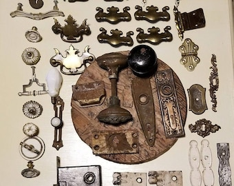 Vintage 40+ Architectural Salvage Door Knobs Hinges Backplates Pulls Box Lock   What you see is what you get. As is. Old and vintage.